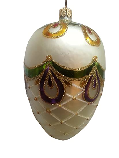 "Hand Painted Christmas Ornaments are Luxury Christmas Decorations - Amazon.com: Faberge Egg Green Purple Bow 4"". Hand Painted Christmas"