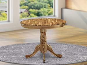 East West Furniture Antique Dining Table Made of Acacia offering Wood Texture, 36 Inch Round, Neutral Finish