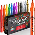 Acrylic Paint Pens for Rock Painting, Stone, Ceramic, Glass, Wood, Fabric, Canvas, Porcelain. Set of 12 Acrylic Paint Markers