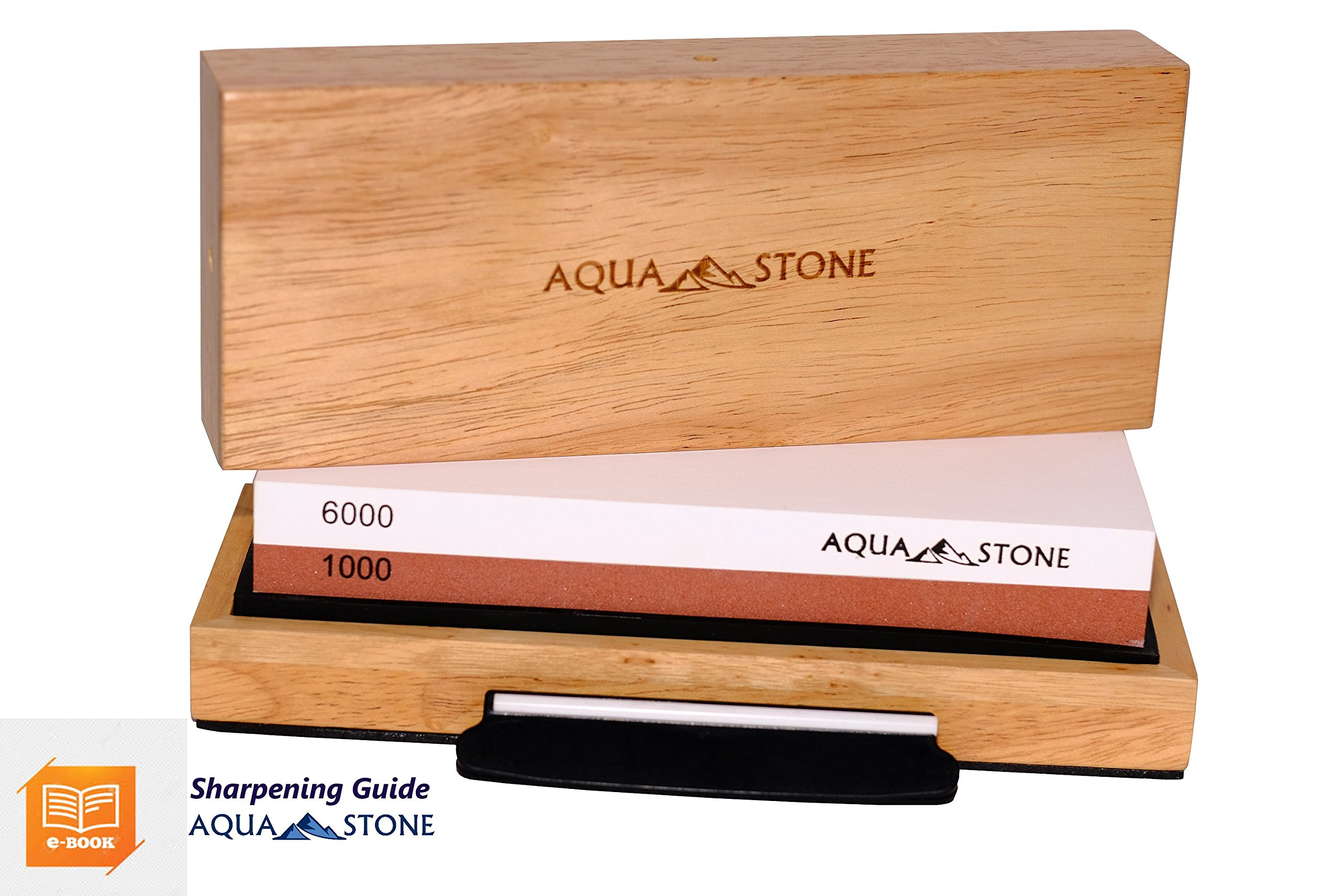Professional Knife Sharpener 2 Side Sharpening Stone Kit For Chefs, Home Kitchen Knives.Whetstone Grit 1000/6000 Watersone,NonSlip Wood Base, FREE Angle Guide, Silicone Base with Stylish Wood GIFT Box by Aquastone (Image #1)