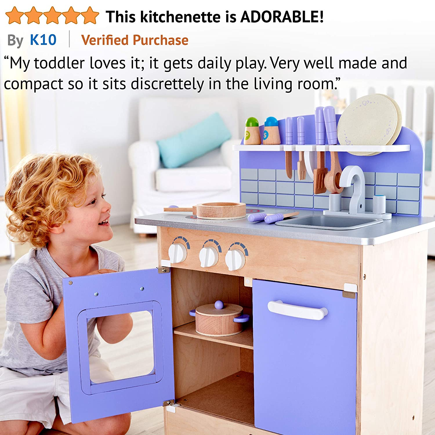 Hape Kitchen Sets of Kids Wooden Toys Kitchen Playset with 13 Toy Kitchen Accessories for Kids Kitchen Set for Toddlers USA Toyz Play Kitchen Set