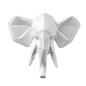 Vistella 3D White Elephant Head Wall Art Decor