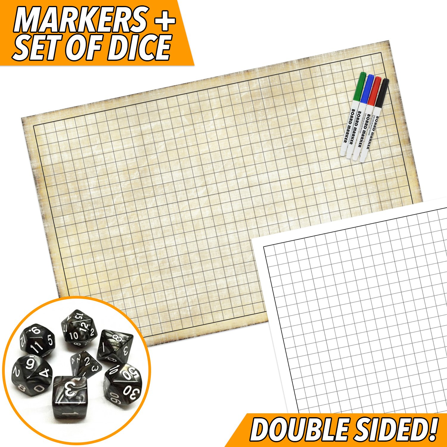 rpg battle game mat dry erase double sided 36 x 24 includes 4