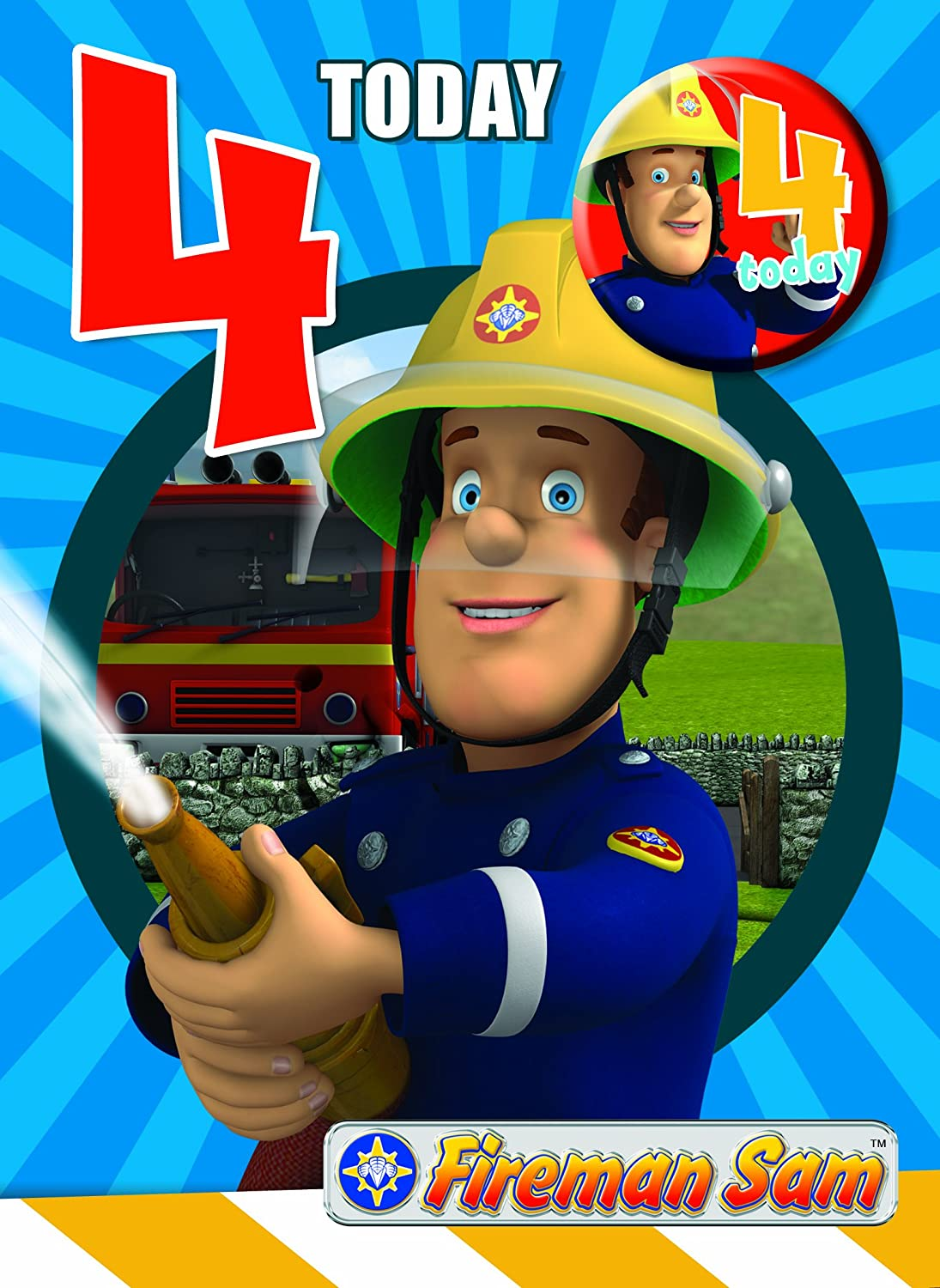 Fireman Sam FS004 Age 4 Birthday Card Amazoncouk Office Products – Fireman Sam Birthday Cards