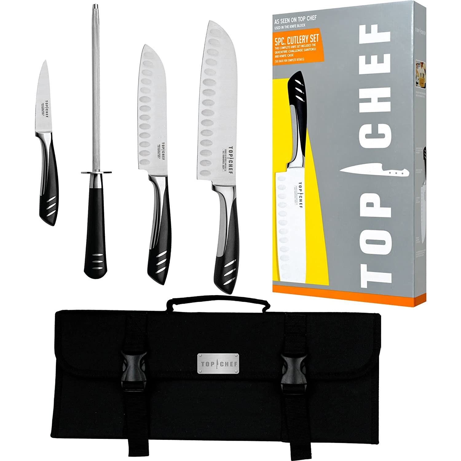 amazon com top chef by master cutlery 5 piece chef basic knife amazon com top chef by master cutlery 5 piece chef basic knife set with nylon carrying case kitchen dining