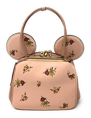 311fbadd34 Coach x Disney Minnie Mouse Ears Pink Floral Kisslock Top Handle ...