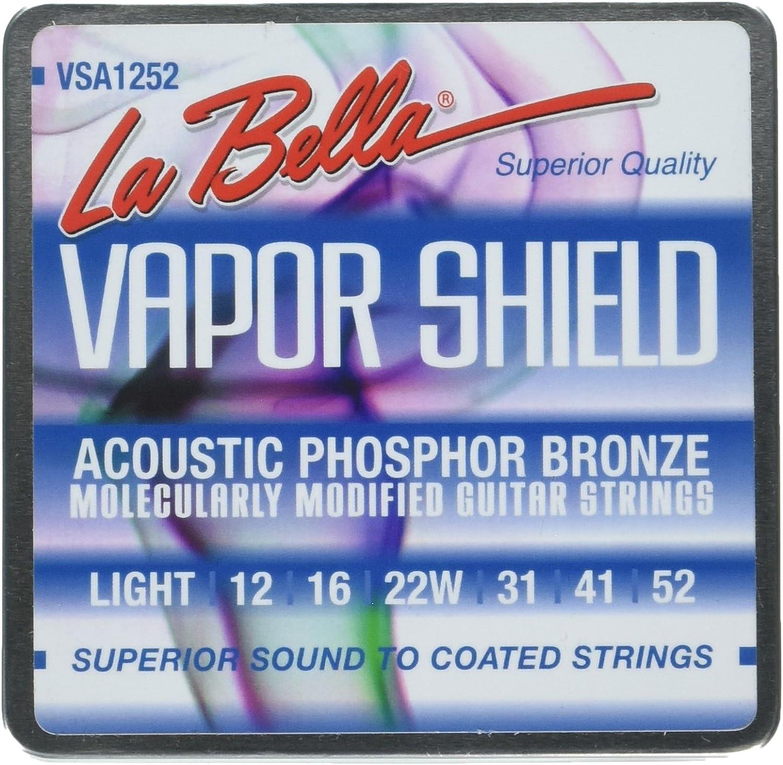 La Bella VSA1252 Vapor Shield Cuerdas para guitarra acústica, luz 12-52