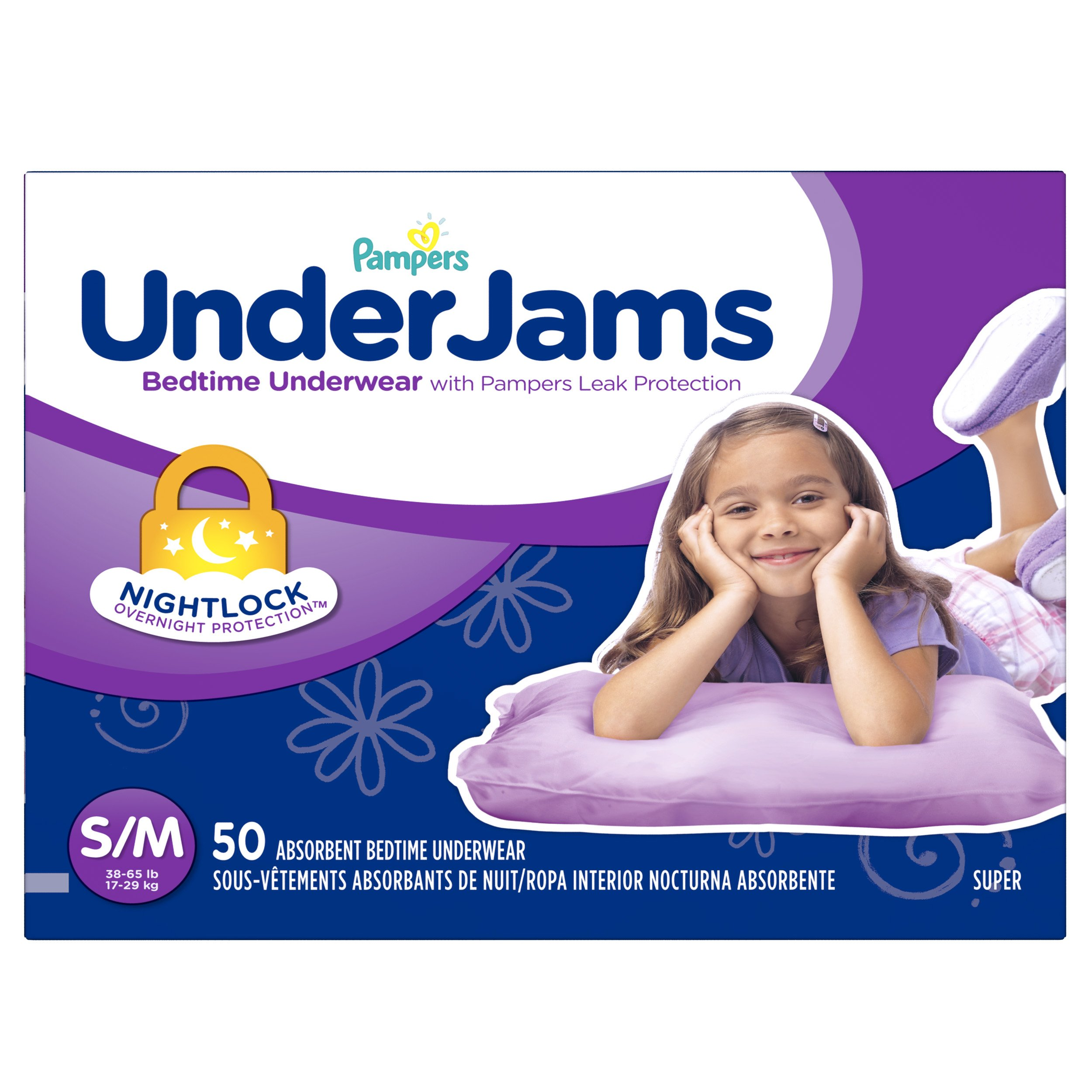 Pampers UnderJams Disposable Bedtime Underwear for Girls, Super Pack, Small/Medium (50 Count) by Pampers