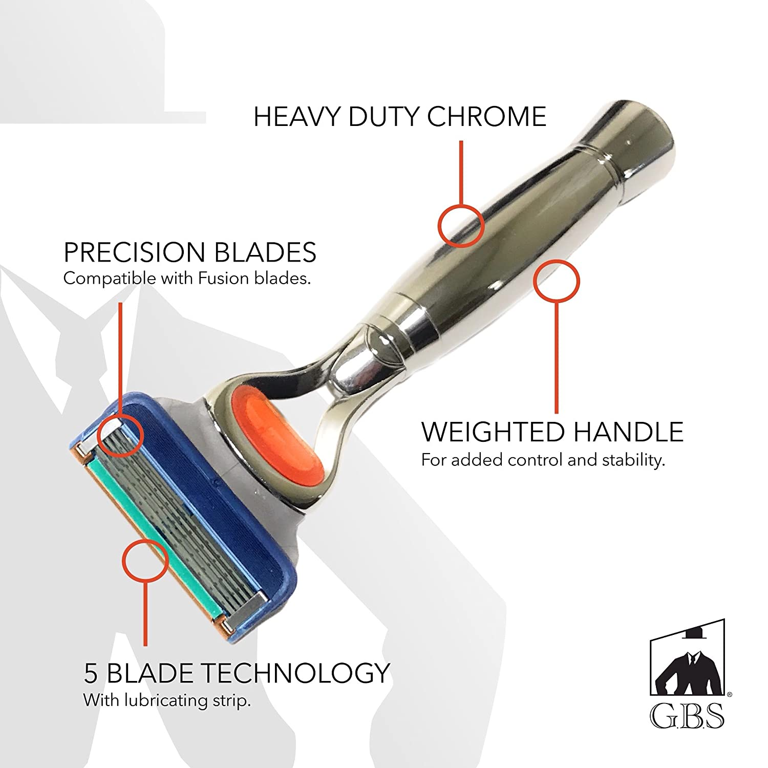 GBS Men's Heavy Duty Handle Chrome Shaving Razor - 5 Blade technology
