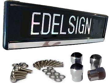 Edelsign Futur - Soporte inoxidable para matrícula, material de fijación de acero inoxidable y 4 tapones cromados para válvulas (matrículas de 52 x 11 cm): ...