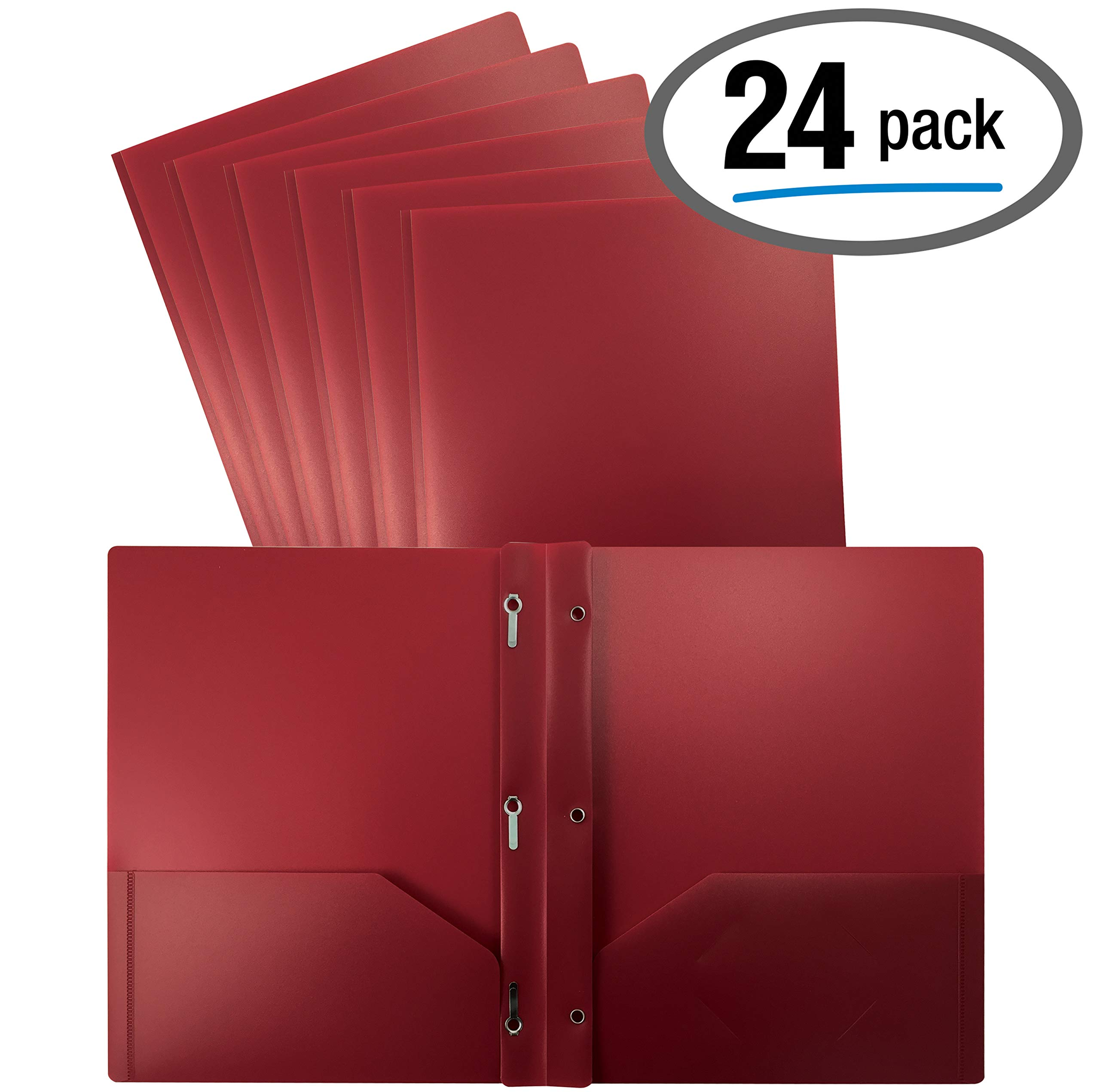 Better Office Products Burgundy Plastic 2 Pocket Folders with Prongs, 24 Pack, Heavyweight, Letter Size Poly Folders with 3 Metal Prongs Fastener Clips, Burgundy Red by Better Office Products
