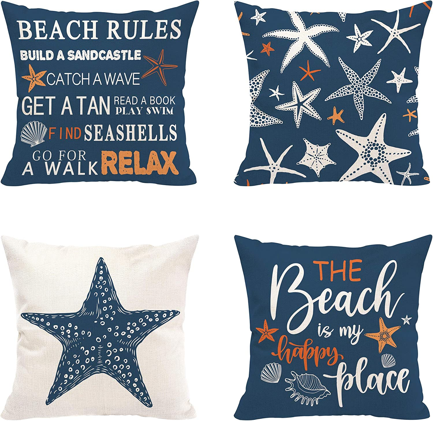 Hexagram Summer Beach Pillow Covers 18x18 Set of 4, Blue Throw Pillow Covers, Starfish Beach Rules Quotes Decor Summer Pillow Cover for Living Room Couch Sofa Bed, Outdoor Home Decor Cushion Covers