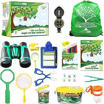 Mastersos Paquete de Aventura para niños al Aire Libre, 22 Piezas, Kit Explorador para niños – Juego de exploración de la Naturaleza: Amazon.es: Juguetes y juegos