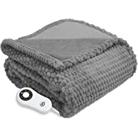 Serta | Honeycomb Faux Fur Electric Heated Throw with 5 Setting Controller, Gray