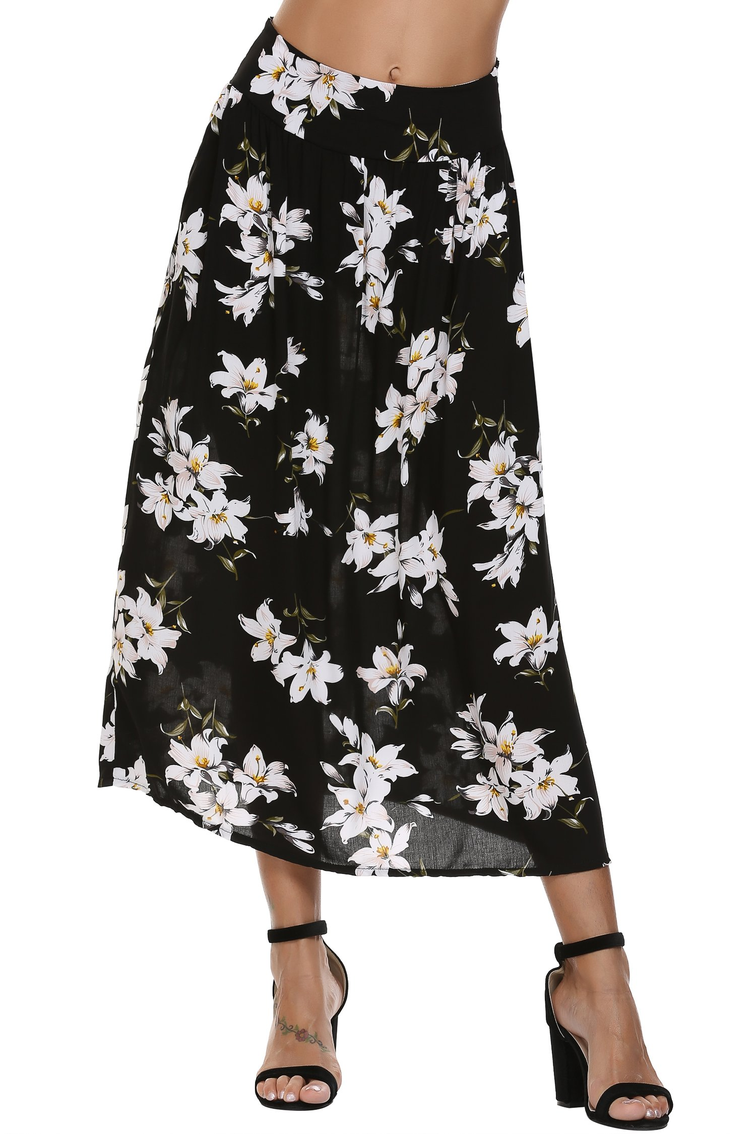 Zeagoo Bohemian Style Elastic Waist Band Cotton Long Maxi Skirt Dress