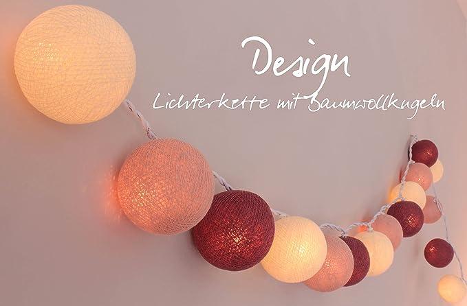 CREATIVECOTTON Cadena de luces LED Jardin de Rosas con 35 bolas ...