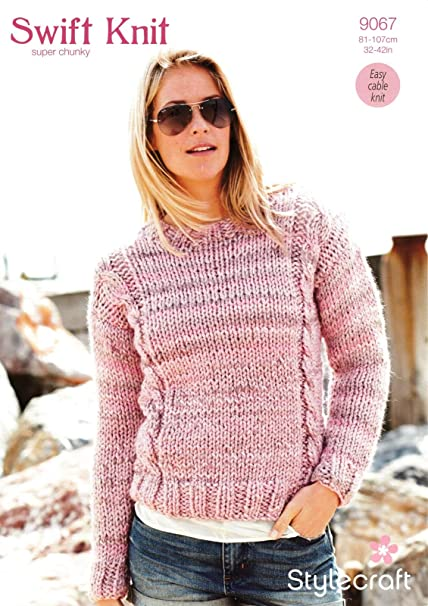 2f0a7597298e52 Stylecraft 9067 Knitting Pattern Ladies Cable Sweater in Swift Knit Super  Chunky  Amazon.co.uk  Kitchen   Home