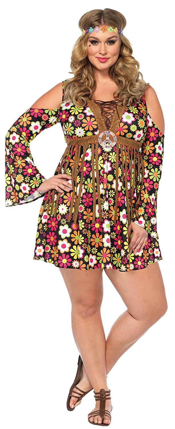 ef2bc8ab62 Amazon.com  UHC Women s Hippie Starflower 60s 70s Floral Dress Outfit  Halloween Costume  Clothing