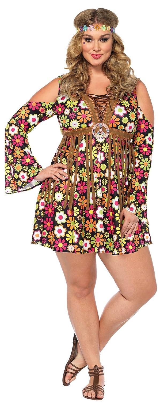 635888fcbf6 Amazon.com  UHC Women s Hippie Starflower 60s 70s Floral Dress Outfit  Halloween Costume  Clothing