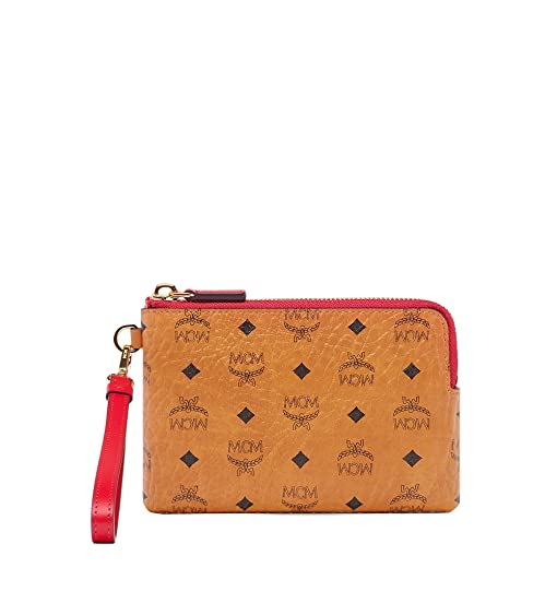 MCM Color Visetos Tech Pouch Small Wristlet (PRODUCT)RED: Handbags ...