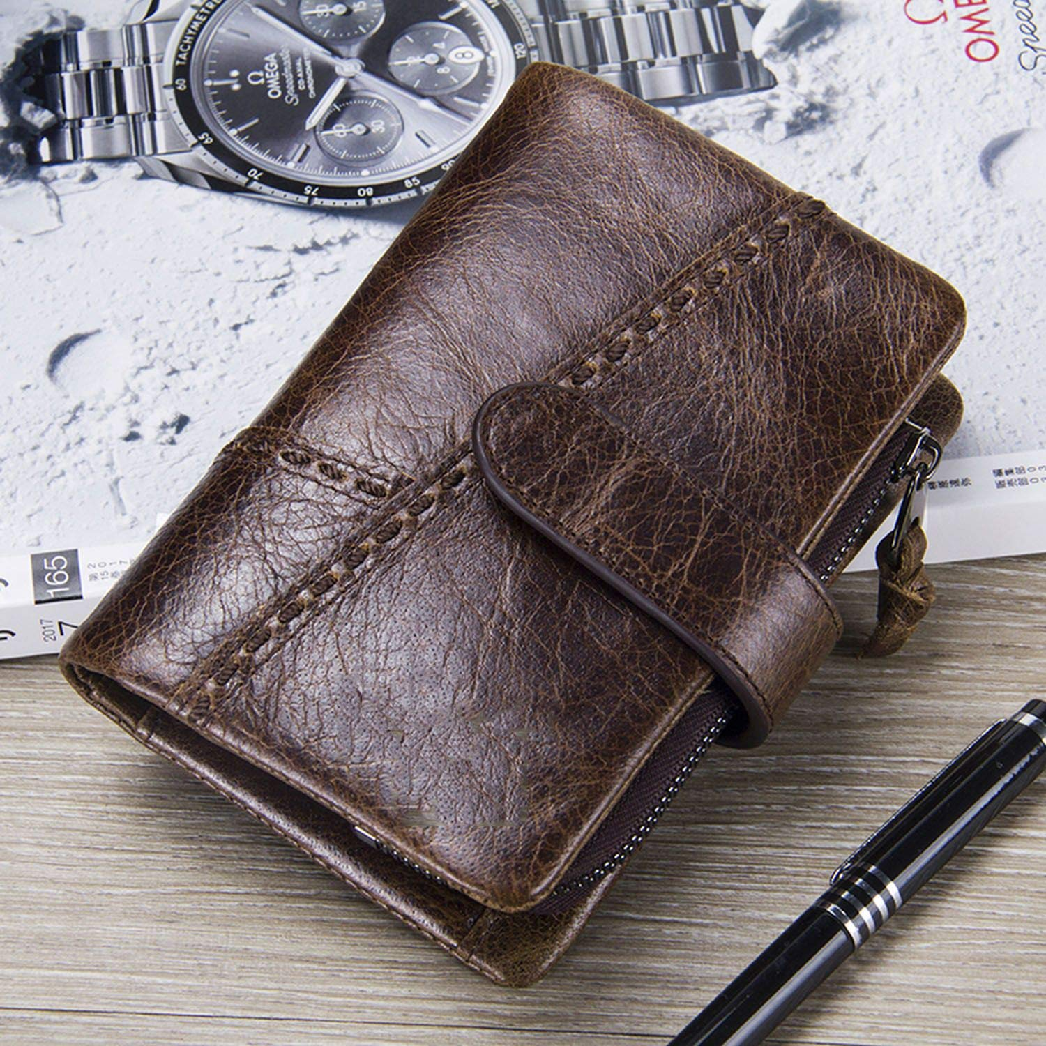 Casual MenS Genuine Leather Short Wallet Hasp Design Key Holders Clutch Purse With Zipper Pouch Wallet