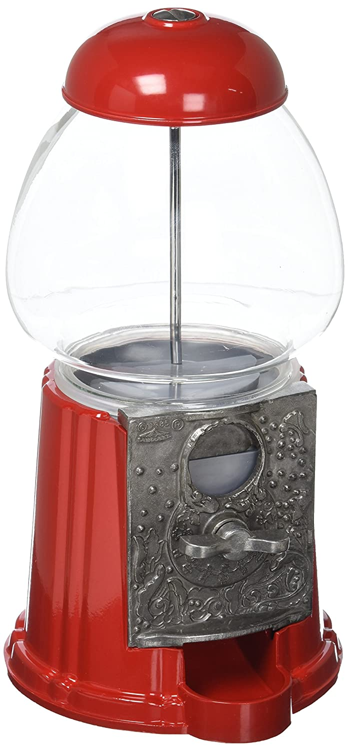 Carousel Petite Gumball Machine Bank, 9 tall - Die cast Metal Glass Globe (9, Red) VC0S2_PETITE