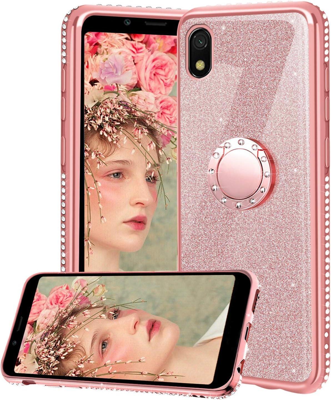Funda para Xiaomi Redmi 7A, Glitter Brillante Diamante con 360 Grado Anillo Kickstand Ultra Delgada Premium Fina Resistente Silicona TPU Doble Capa Anti Choques Protectora Carcasa - Rosa