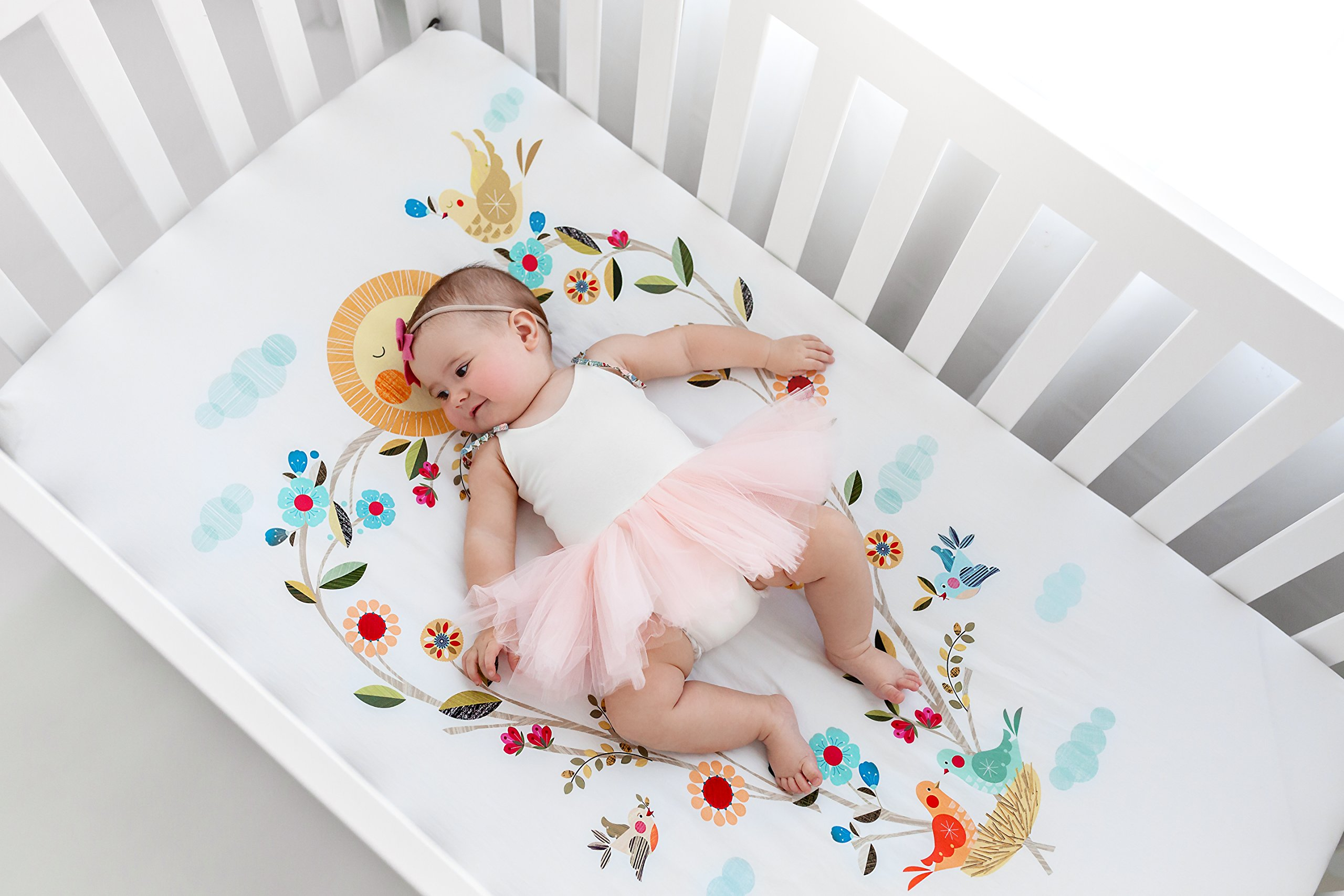 Rookie Humans 100% Organic Cotton Sateen Fitted Crib Sheet: Love Blooms. Complements Modern Nursery Room, Use as a Photo Background for Your Baby Pictures. Standard crib size (52 x 28 inches). by Rookie Humans (Image #2)