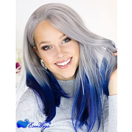 Eseewigs sintética larga azul Ombre peluca de dos tonos gris raíz azul oscuro Ombre pelucas delanteras