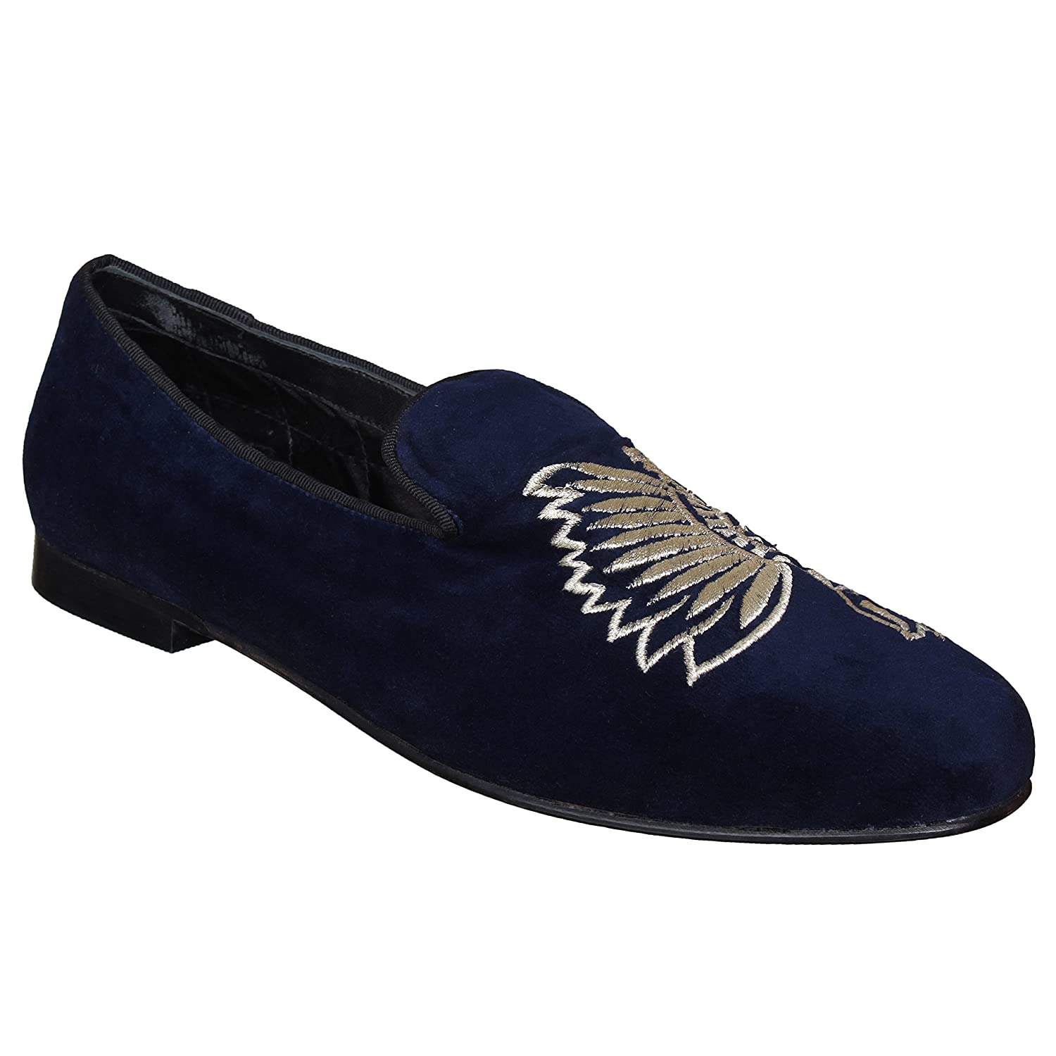 3bcf0f524b191 Amazon.com: Lozano Blue velvet slip ons with butterfly embroidery ...