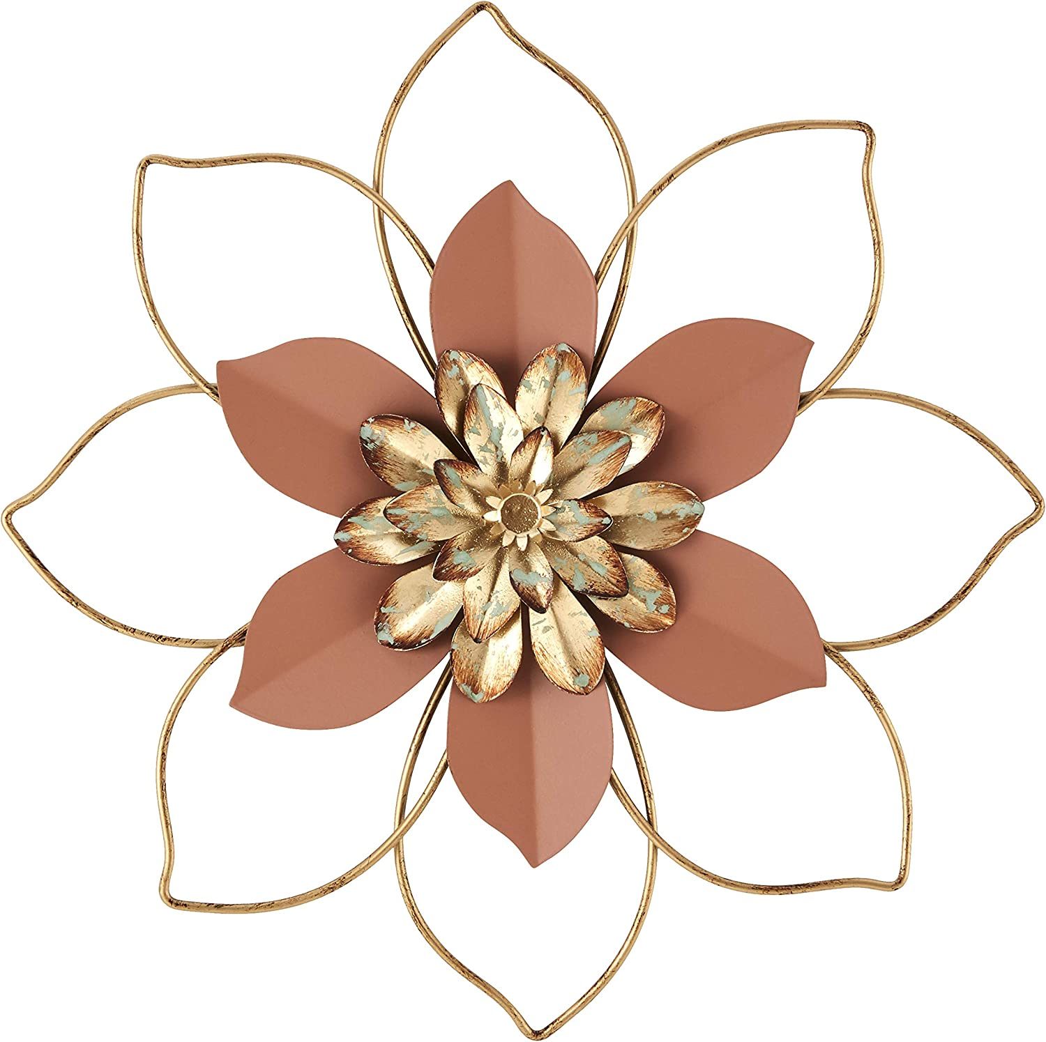 H HOMEBROAD. Metal Flower Wall Decor Hanging Decorations Outdoor Wall Sculptures for Home Bedroom Bathroom Kitchen Garden, Coral, 12inch