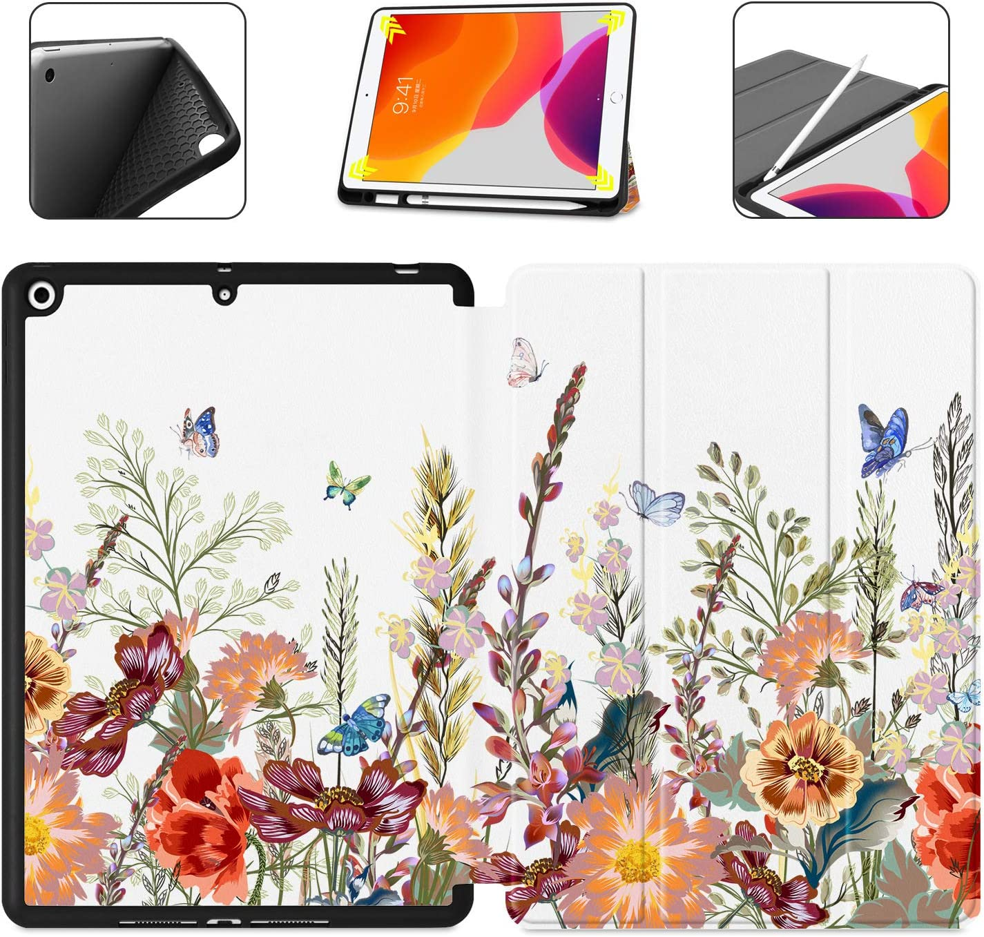 "Dongke New iPad 10.2 Case, Trifold Smart Case with Pencil Holder for iPad 8th/7th Generation 10.2"" 2020 2019 Release Auto Sleep/Wake Lightweight Stand Case, Garden Floral & Butterfly J266"