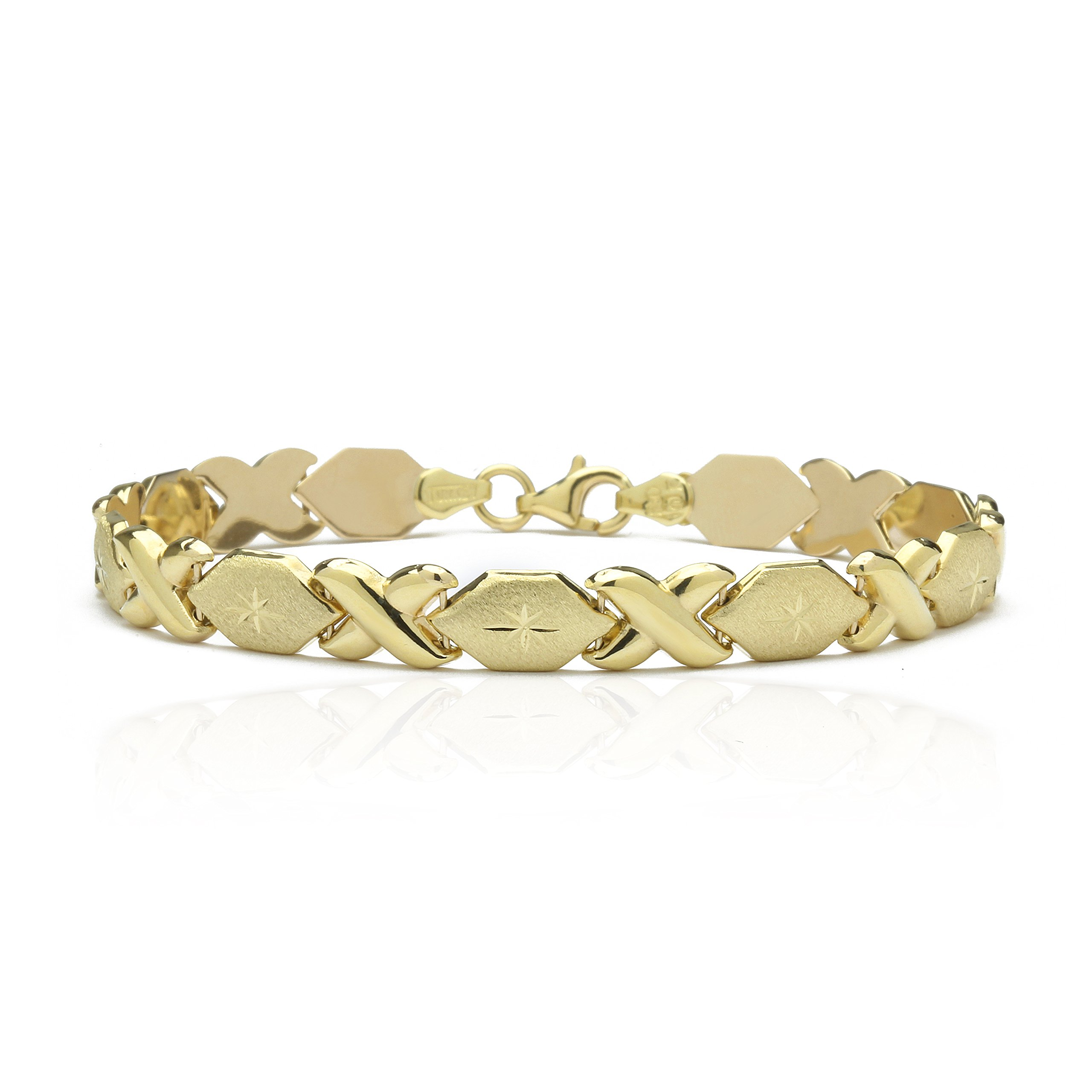 8 Inch 10k Yellow Gold Stampato Xoxo X & O Hugs Kisses Chain Bracelet for Women and Girls by SL Gold Imports