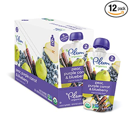 Plum Organics Stage 2, Organic Baby Food, Pear, Purple Carrot and Blueberry, 4.0 ounce pouch (Pack of 12)
