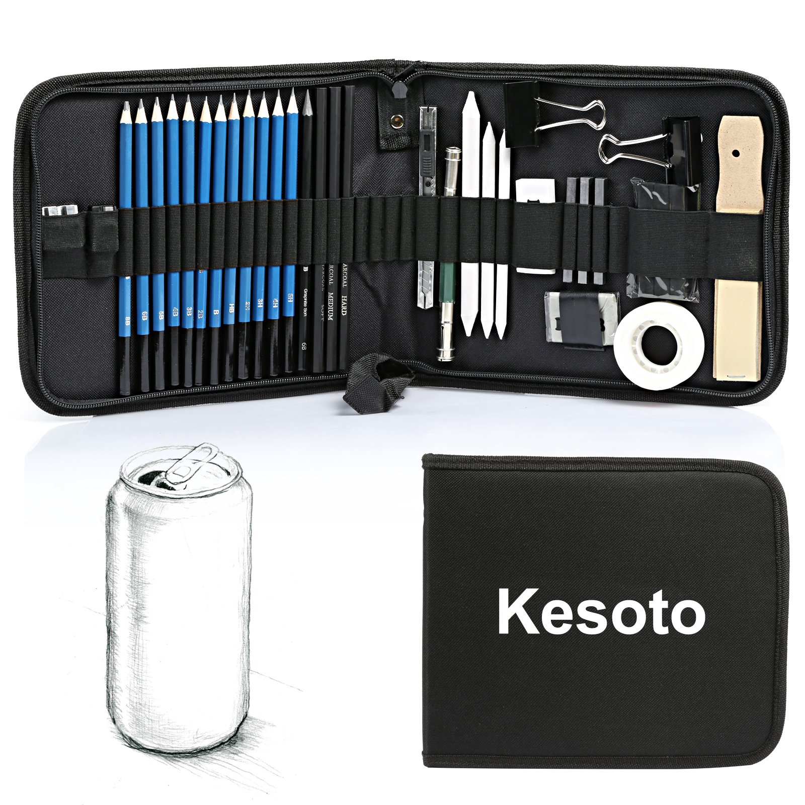 Kesoto 35 Pieces Art Supplies Drawing and Sketching Pencils Set with Graphite & Charcoal Pencils, Sticks and Tools