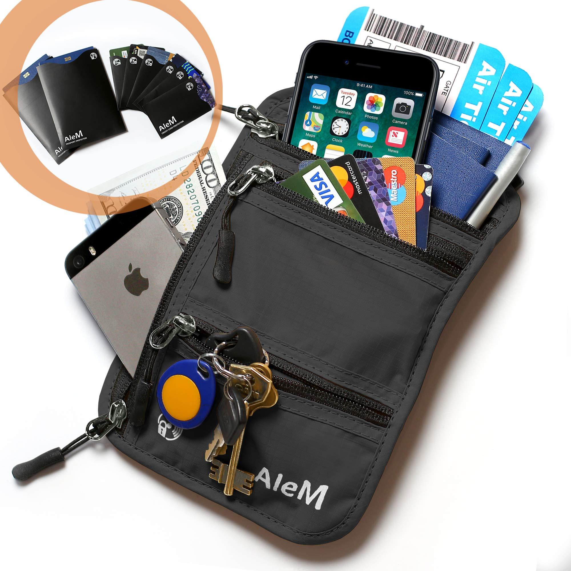 Travel Neck Wallet and Passport Holder - Hidden Anti Theft RFID Blocking Pouch (Black)