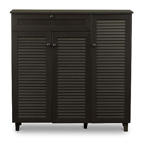 Amazon.com: Baxton Studio Pocillo Wood Shoe Storage Cabinet, Brown ...