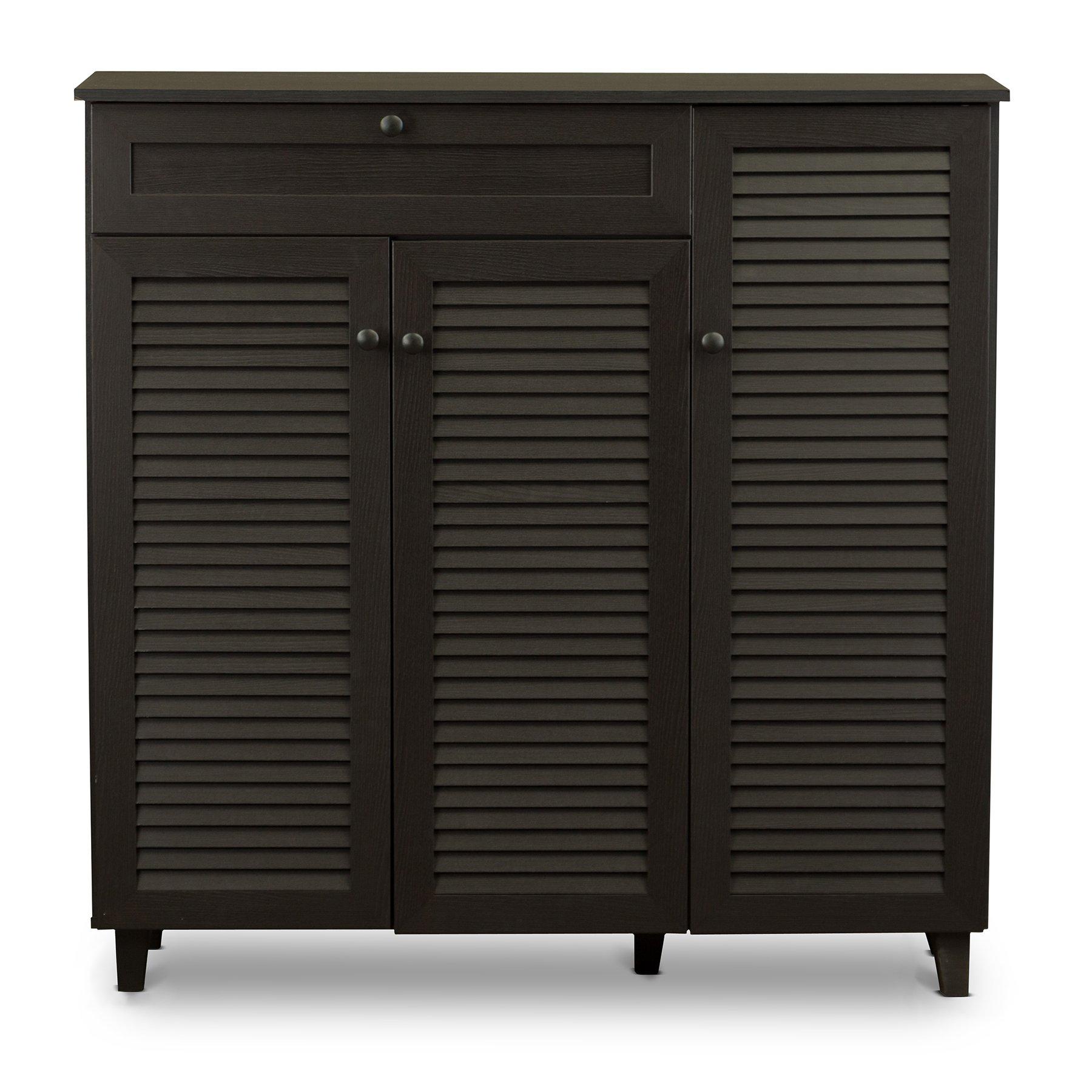 Baxton Studio Pocillo Wood Shoe Storage Cabinet, Brown by Baxton Studio (Image #1)