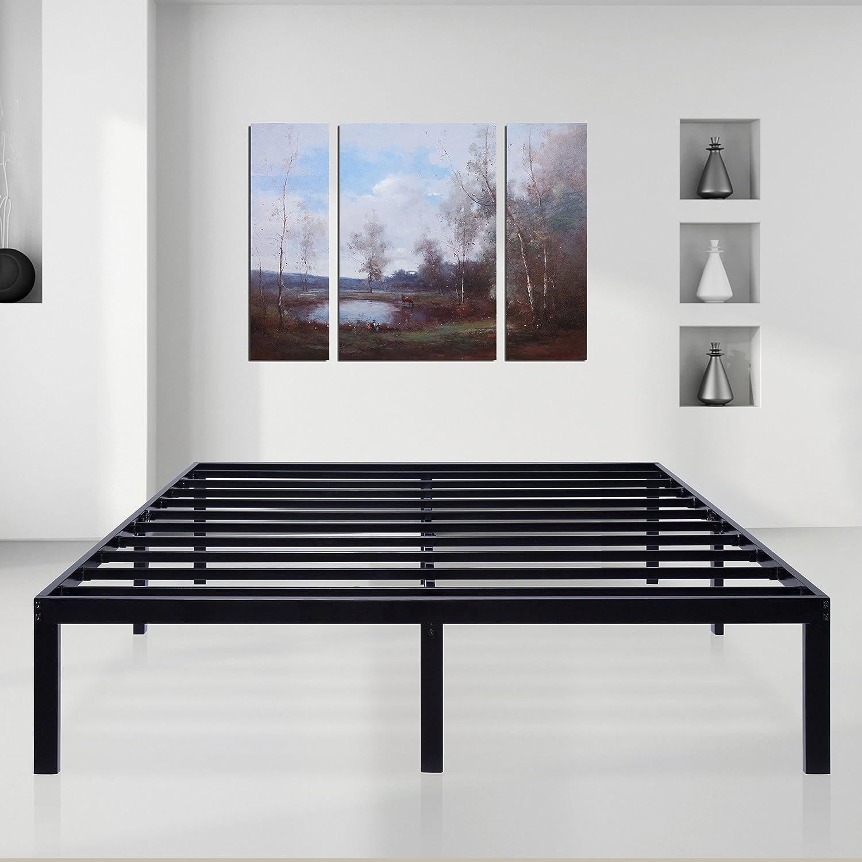 Sleeplace 14 inch Dura Comfort – 3000 Steel Slat Non-Slip Support Bed Frame Black Queen