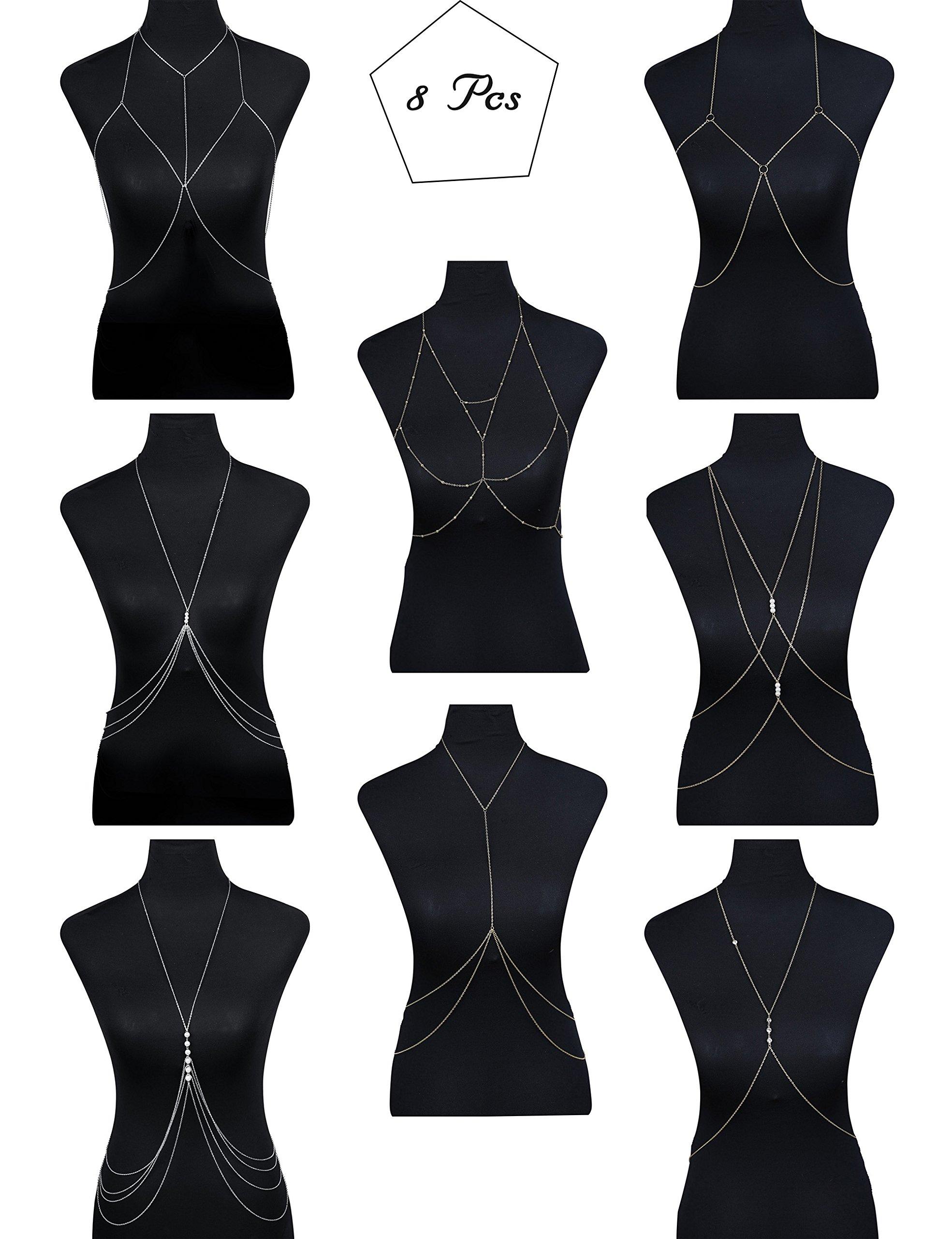 Besteel 8 Pcs Cross Belly Chains Necklace for Women Girls Summer Bikini Body Jewelry