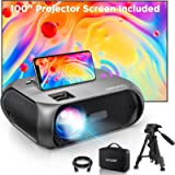 Bomaker True HD WiFi Projector, 6500L with 100' Outdoor Projector Screen, Native 1280*720P Outdoor Movie Projector…
