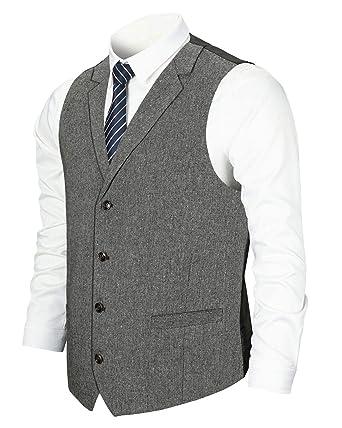 YCUEUST Chaleco Hombre Casual Clásico Tweed Traje de Negocios ...