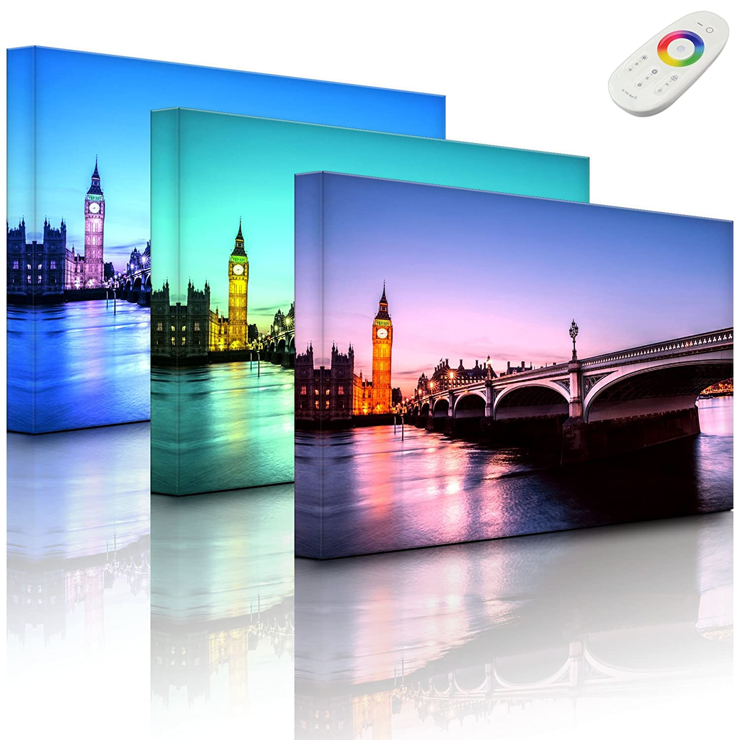 lightbox-multicolor.com Wall picture with LED - Westminster Bridge and Big Ben at night - 60 x 40 cm - front lighted Rossteutscher GbR