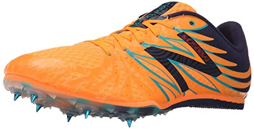 New Balance Mens MMD500V4 Track Spike Shoe, Orange Pop with Black/Atlantic Blue,