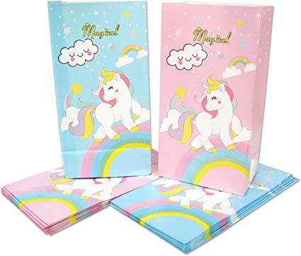 Rainbow UNICORN Paper Bags 12 Pack Dozen Pony Unicorn Birthday Party Goody Bag