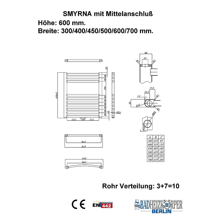 Gebogen mit Mittelanschluss Handtuchtrockner Badheizk/örper SMYRNA Wei/ß 400 x 600 mm