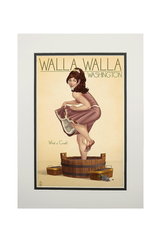 【即日発送】 Wine Crushing Pinup Girl - Walla Walla, Washington (24x36 Giclee Gallery Print, Wall Decor Travel Poster) by Lantern Press B06XZJ87CN  11 x 14 Matted Art Print 11 x 14 Matted Art Print, セレクトサニー 96fad14b