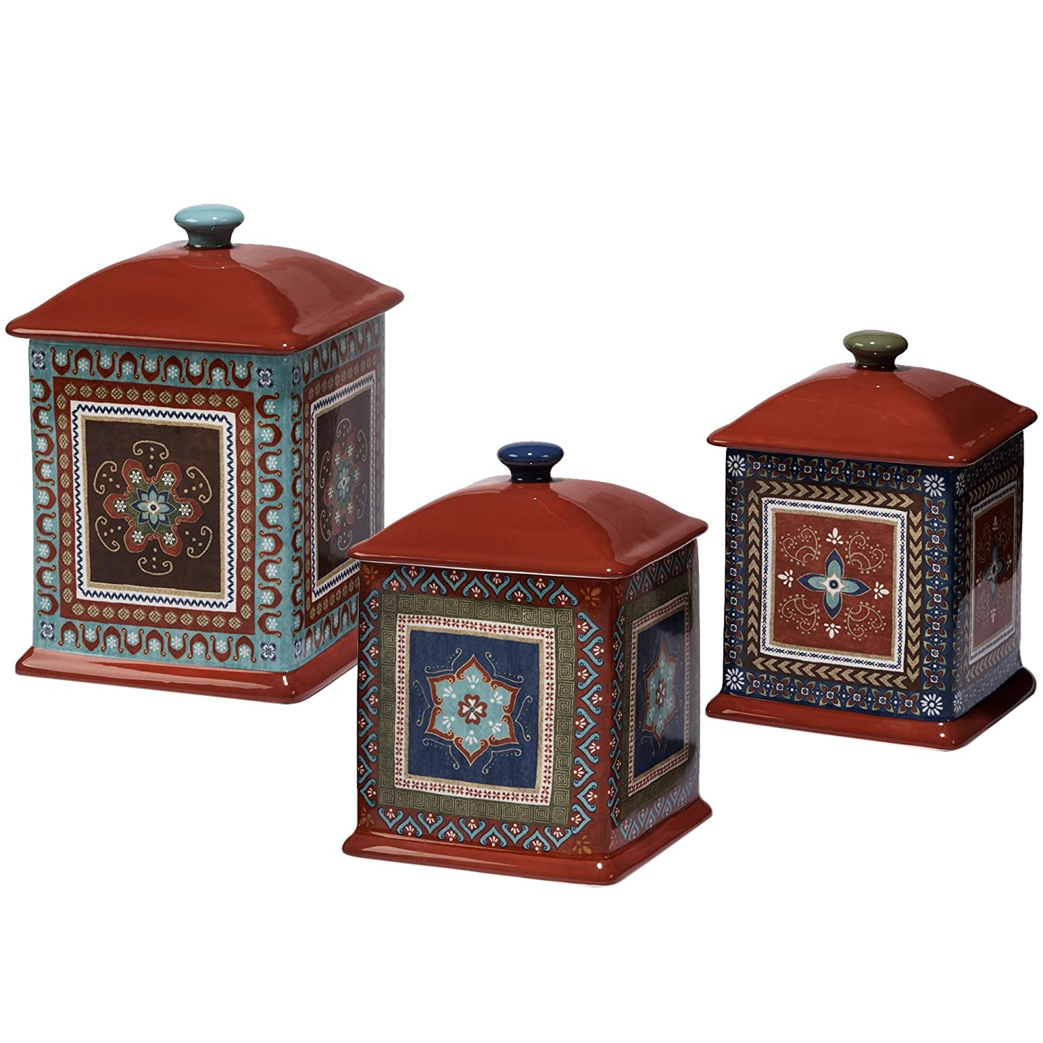 Certified International Monterrey 3 Piece Canister Set, Multicolor 15806