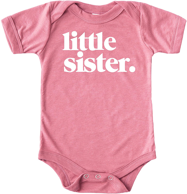 Olive Loves Apple Little Sister Bodysuit for Baby Girls Sibling Outfit Military Green Bodysuit