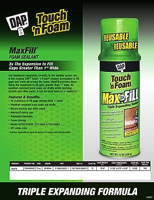 DAP 7565000043 Touch 'n Foam 4001031212 MaxFill Maximum Expanding Sealant, 12Oz, Tan